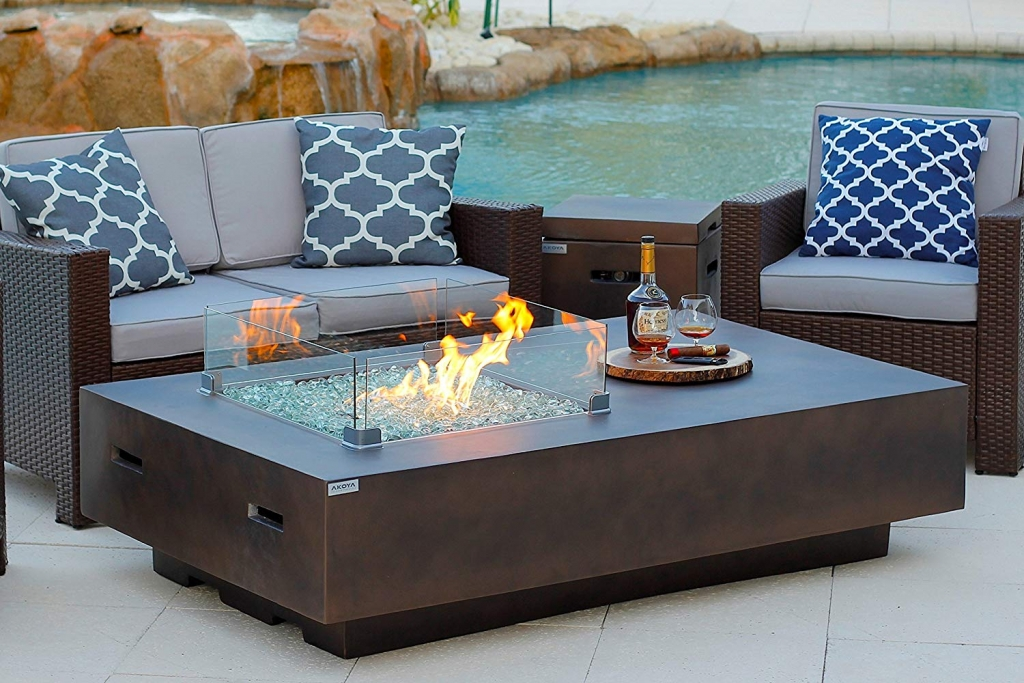 "Modern Outdoor Fire Table w/Glass Guard (65"" Rectangle)"