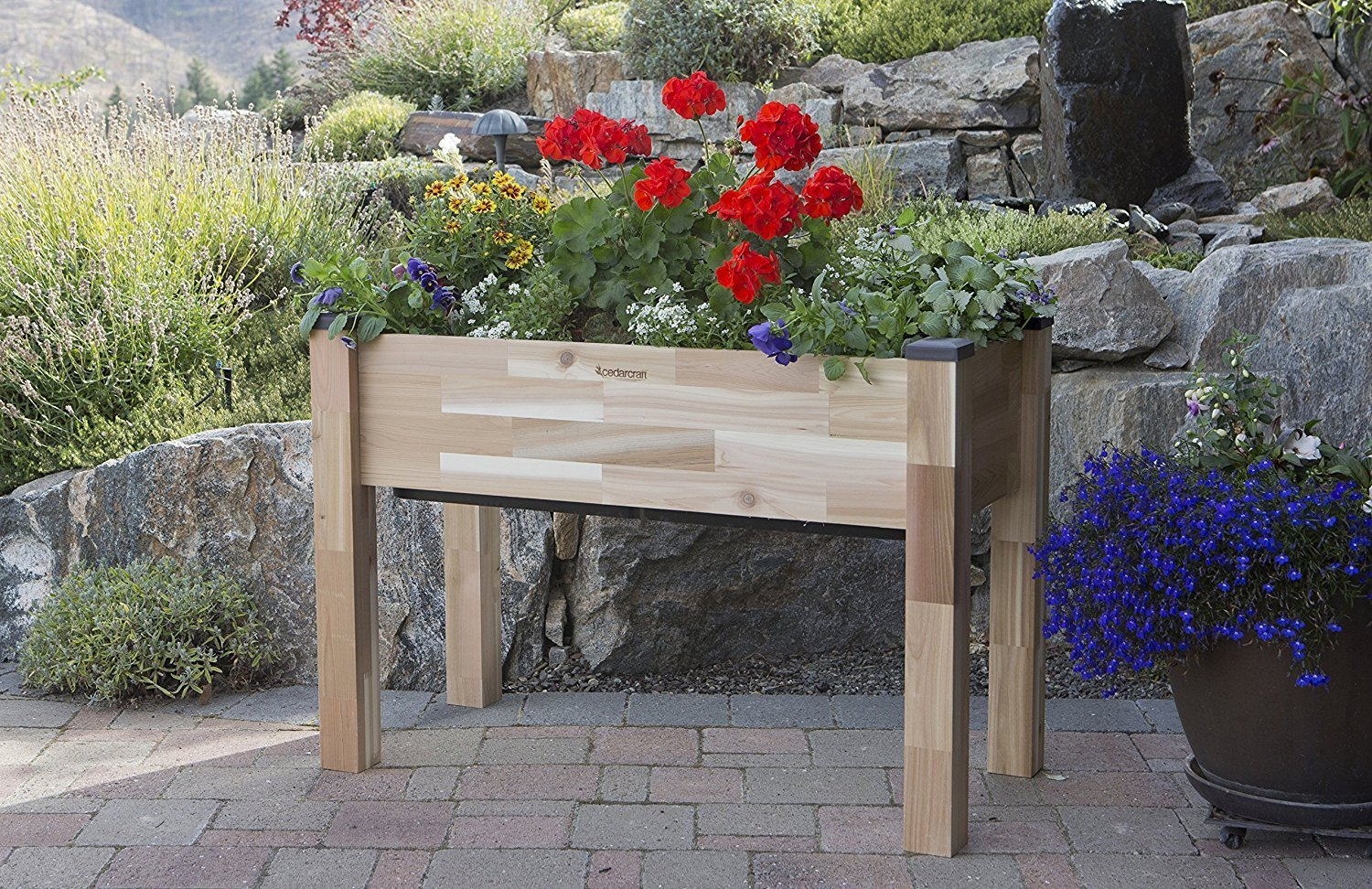 CedarCraft Self-Watering Elevated Cedar Planter (23 X 49 X 30) - Grow Fresh Vegetables, Herb Gardens, Flowers & Succulents. Raised Garden Bed for a Deck, Patio or Yard Gardening. No Tools Required.
