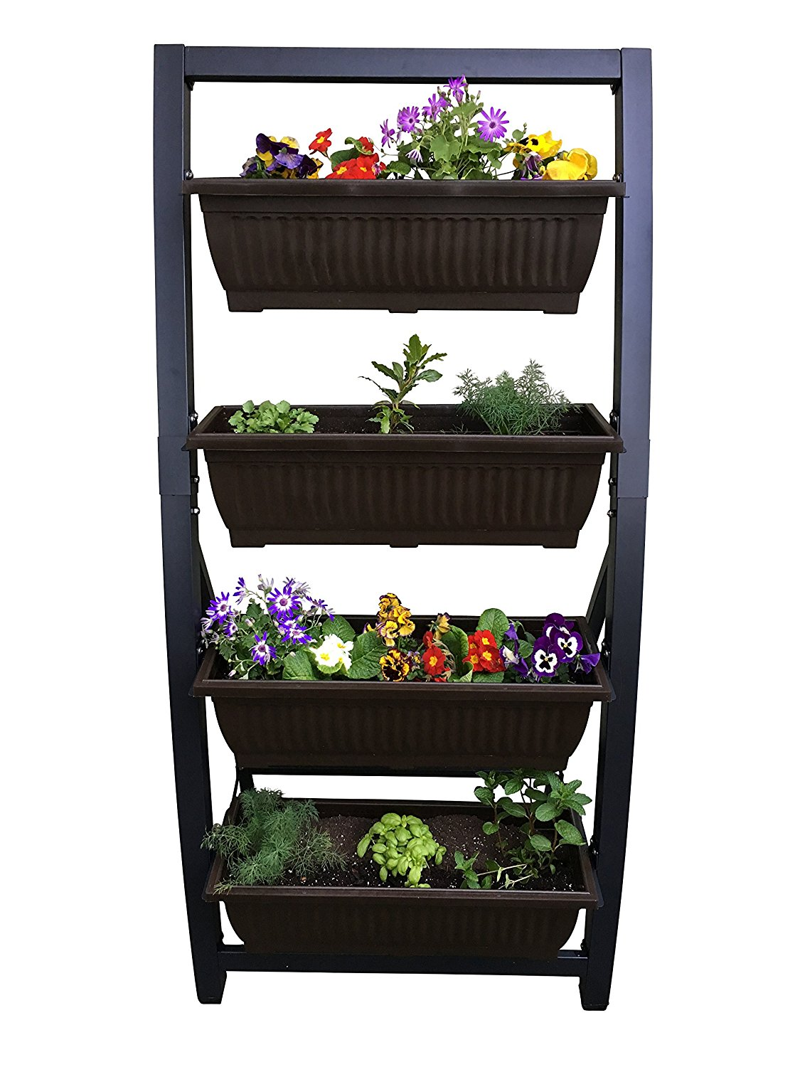 Outland Living 6-Ft Vertical Garden Freestanding Raised Elevated Bed Planter for Patio Yard Deck Balcony Cascading Water Drainage to Grow Vegetables Herbs Flowers Succulents, with 4 Container Boxes