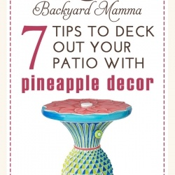 Outdoor living trends come and go and this year is no exception. Everywhere I turn I keep seeing pineapple themed interior décor and it has made its way to the backyard. From pillows, cushions, rugs, curtains and other fabric based items, to patio furniture and decorations, pineapples are making a statement in backyards. Why pineapples? Why not? They are fun, bright, cheerful and can help bring joy to any space, even in the backyard, patio and other outside spaces. Pineapples are typically seen in design using yellows and greens; however, there are all different types of color palettes available with outdoor pineapple décor, including teal, pink and multi-color.