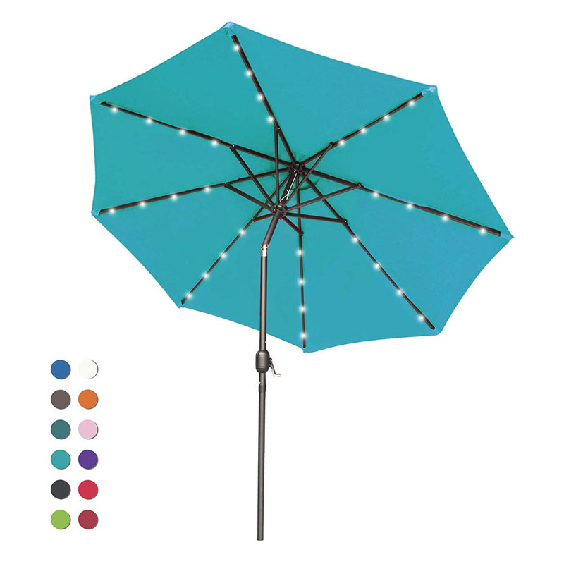 Patio Umbrella Ourdoor Solar Umbrella LED Umbrellas with 32LED Lights, Tilt and Crank Table Umbrellas for Garden, Deck, Backyard and Pool,12+Colors,